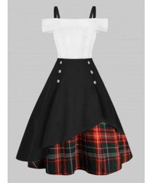 Plus Size Plaid Panel Cold Shoulder Vintage Dress
