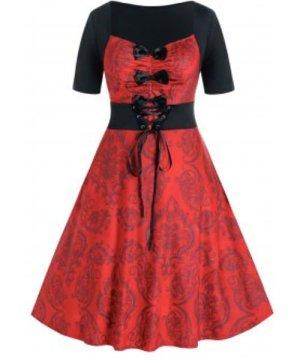 Plus Size Bowknot Lace-up Damask Print Retro Dress