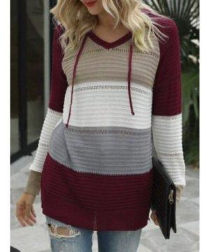 Hooded Colorblock Pointelle Knit Raglan Sleeve Knitwear