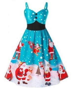 Plus Size Christmas Vintage Santa Claus Print Party Dress