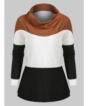 Cowl Neck Colorblock Long Sleeves Knitwear