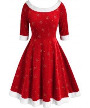 Plus Size Glitter Snowflake Pattern Velour Dress