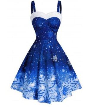 Snowflake Print Ombre Color Christmas Dress