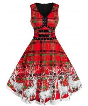 Christmas Elk Print Plaid Buckles Dress