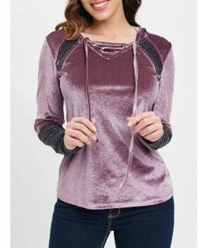 Shiny Panel Long Sleeve Velvet Hooded T-shirt