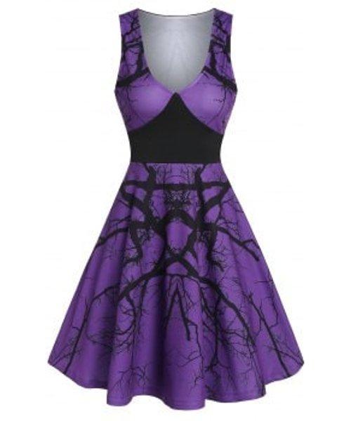 Low Cut Branch Print A Line Dress