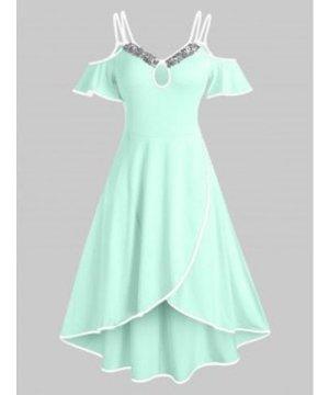 Cold Shoulder Sequin Insert Keyhole Overlap Dress