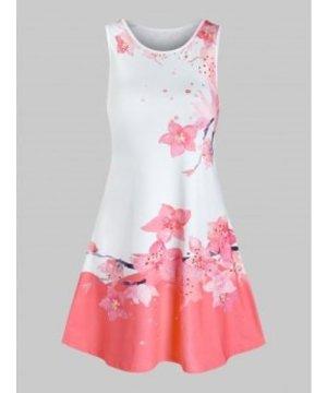 Peach Blossom Print Mini Swing Dress