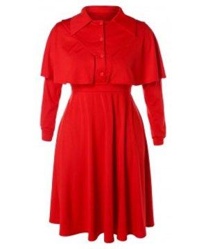 Plus Size Midi Cape Dress