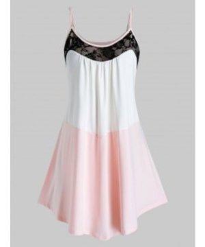 Plus Size Colorblock Lace Insert Cami Top