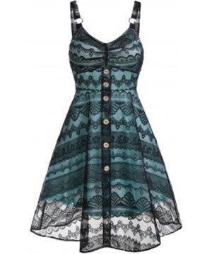 Lace Button High Waist A Line Dress