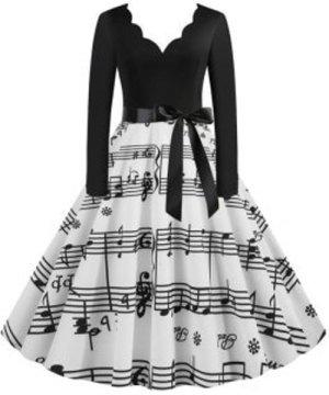 Scalloped Musical Notes Flare Belted Vintage Dress