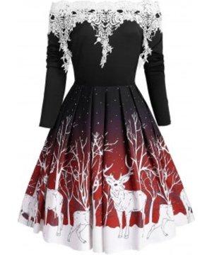 Christmas Off Shoulder Elk Print Applique Panel Dress