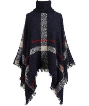Plus Size Turtleneck Plaid Asymmetric Poncho Sweater
