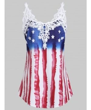 American Flag Applique Panel Tunic Tank Top