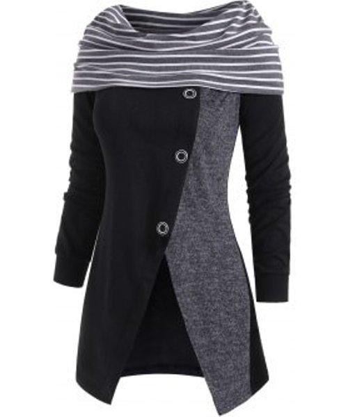 Striped Slit Button Embellished Cowl Neck Knitwear