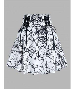 Tree Print Lace Up Mini High Waist Skirt