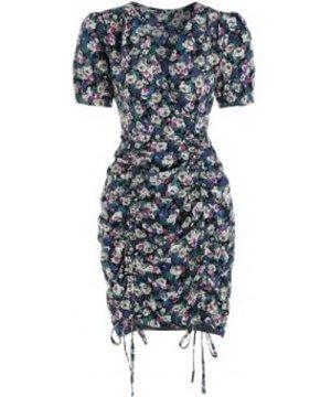 Ditsy Flower Print Drawstring Bodycon Dress