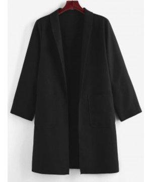 Plus Size Shawl Collar Open Front Pocket Coat