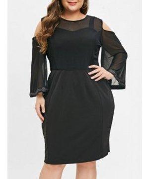 Plus Size Cold Shoulder Mesh Panel Bodycon Dress