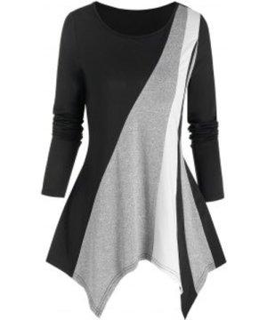 Asymmetric Colorblock T Shirt