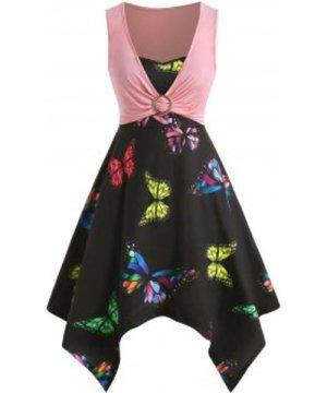 Plus Size Handkerchief Butterfly Print Dress