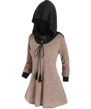 Plus Size Hooded Drawstring Knitwear