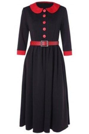 Half Button Peter Pan Collar Contrast Color Vintage Dress