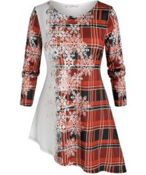 Plus Size Christmas Snowflake Plaid Print Asymmetric T Shirt