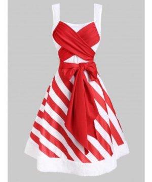 Christmas Striped Faux Fur Insert Bowknot Dress