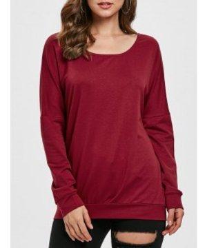 Drop Shoulder Scoop Neck Sweatshirt