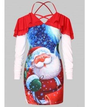 Plus Size Cold Shoulder Santa Claus Print Christmas T-shirt