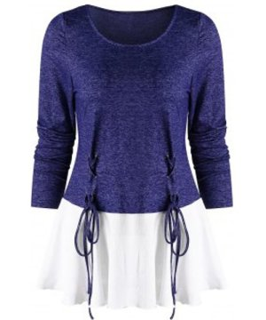 Long Sleeves Lace Up Splicing Tee