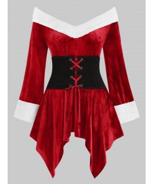 Christmas Off The Shoulder Faux Fur Trim Lace-up Velvet Plus Size Top