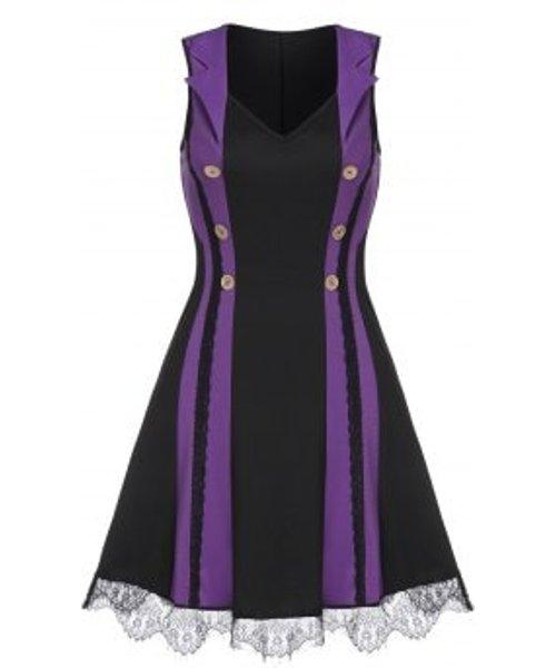 Sleeveless Mock Button Lace Trim Contrast Mini Dress