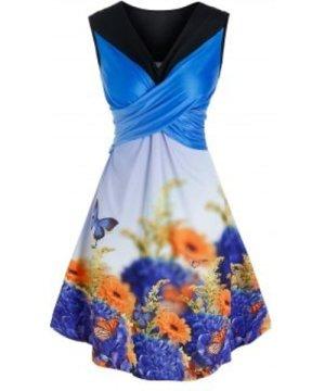 Garden Butterfly Floral Print Crossover Dress