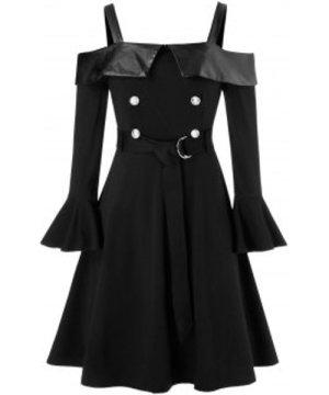 Plus Size Open Shoulder Ruffle Cuff Belted A Line Dress