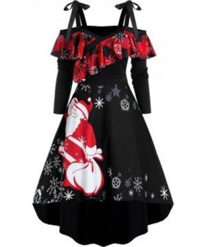 Christmas Santa Claus Snowflake Print Cold Shoulder High Low Dress