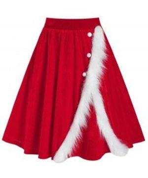 Christmas Velvet Faux Fur Insert Midi Skirt