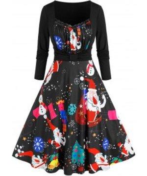 Plus Size Santa Claus Snowman Print Dress