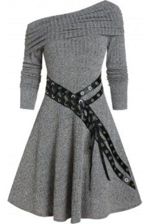 One Shoulder Belted Knitted A Line Dress