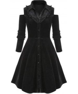 Plus Size Lace Insert Button Up Velvet Dress