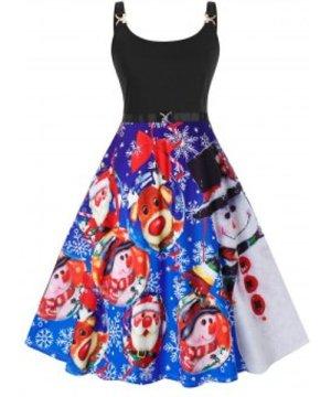 Plus Size Christmas Printed Vintage Swing Dress
