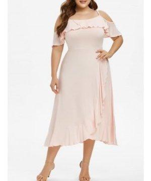 Plus Size Flounce Open Shoulder Midi Prom Dress