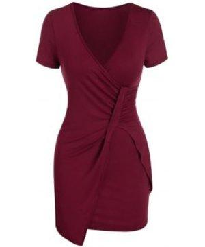 Plunge Neck Ruched Asymmetric Sheath Dress