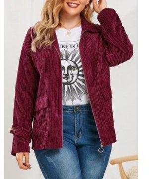 Plus Size Flap Pockets Corduroy Jacket
