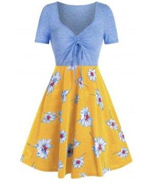 Printed Floral Drawstring High Waist Dress