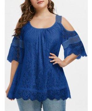 Plus Size Open Shoulder Lace Blouse
