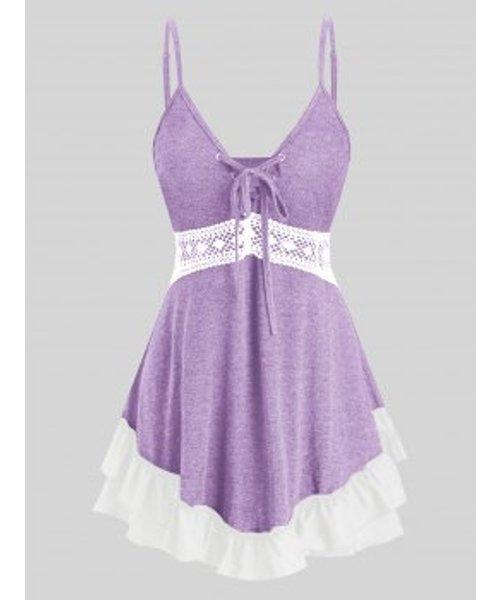 Plus Size Lace Up Crochet Flounce Tank Top