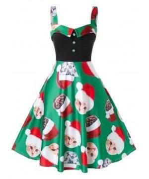 Plus Size Christmas Cat Printed Slip Dress